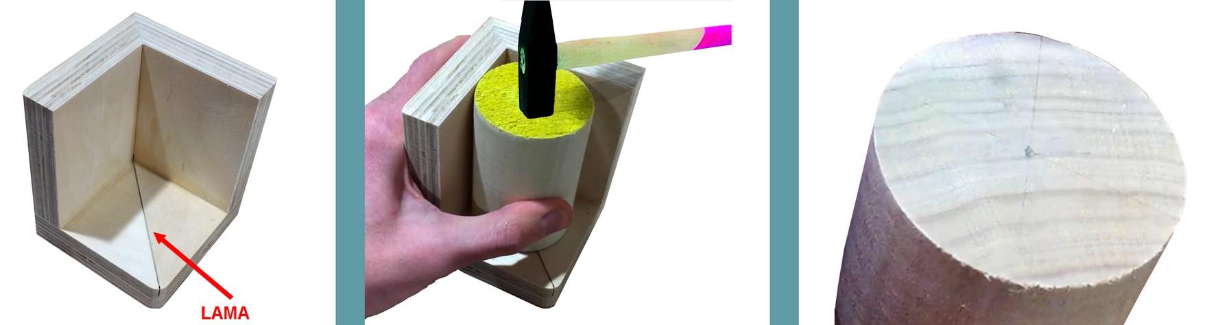Figura 13: la realizzazione e l'utilizzo del marcatore con lama