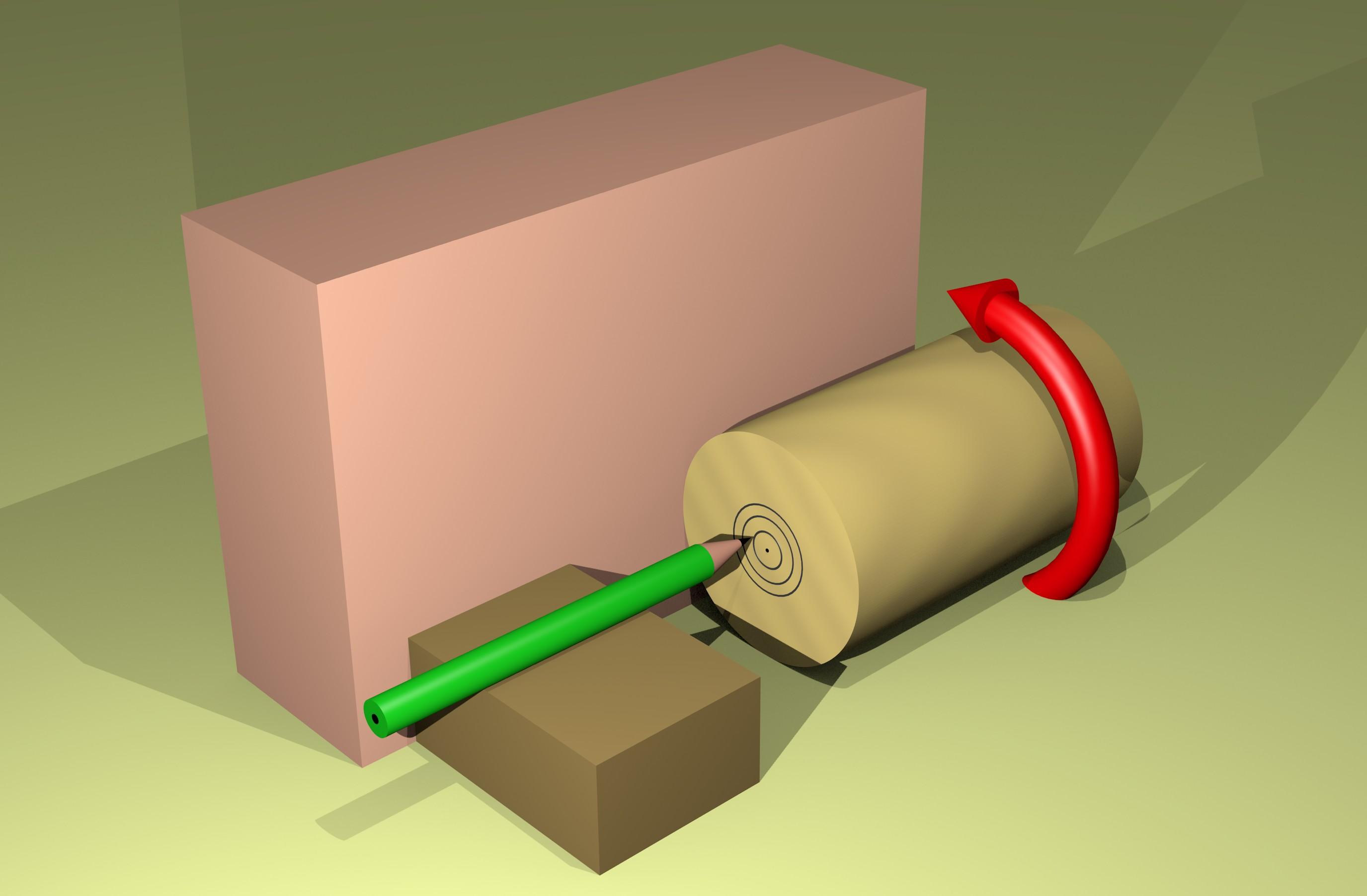 Figura 1: ruotando il tondino e segnando con la matita si trova facilmente il centro