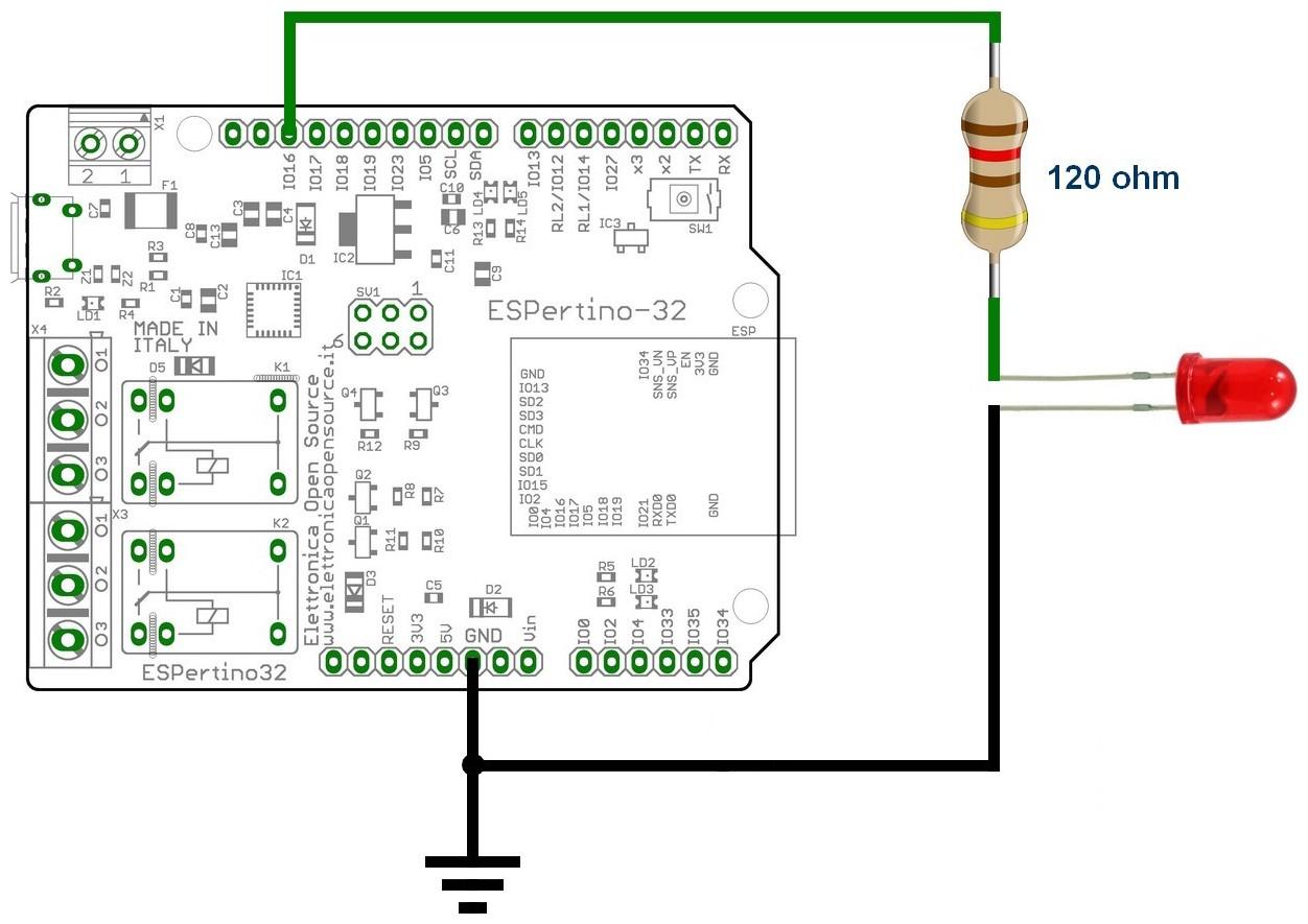 Figura 2: il collegamento del diodo Led di segnalazione alla porta di ESPertino