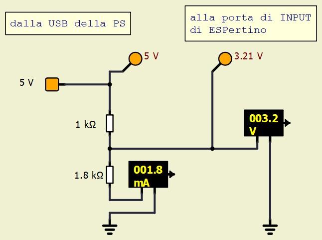 Figura 3: con un partitore traslatore si abbassa la tensione da 5V a 3.3V, compatibile con ESPertino