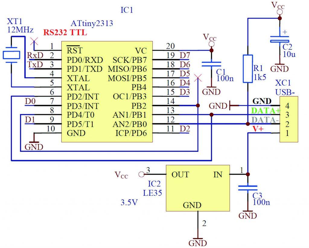 Figura 2: schema elettrico con ATtiny2313.