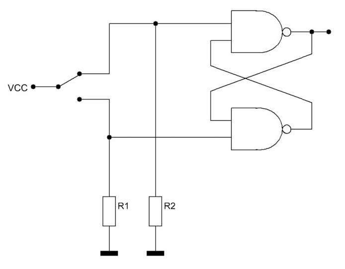 Figura 2: Hardware debouncing di un contatto in deviazione.