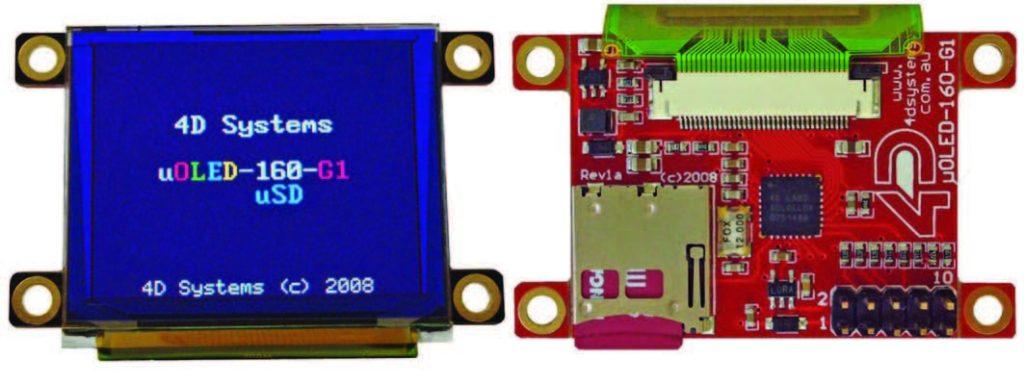 Figura 2: il modulo μOLED-96-G1 (a) il display Oled (b) il controller basato su processore GOLDELOX(SGC).