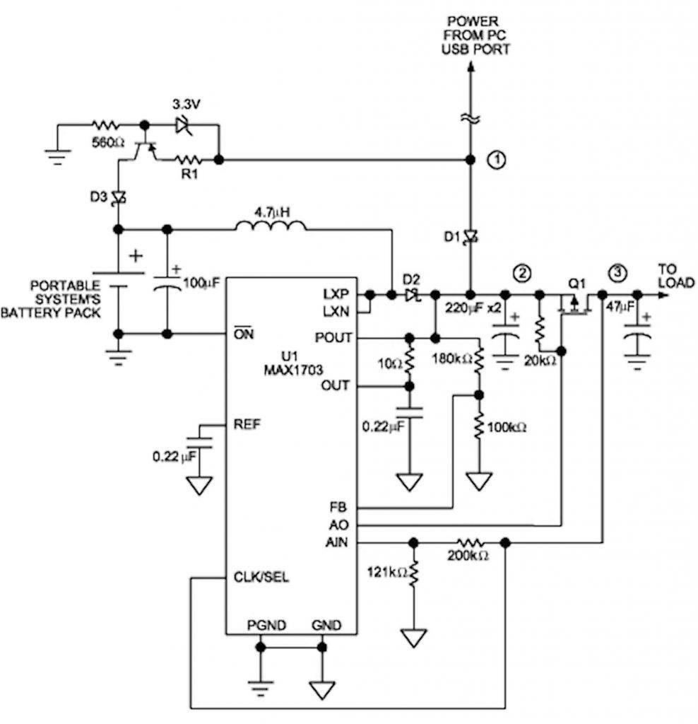 Figura 2: boost converter che funziona come UPS per la tensione di alimentazione in uscita.