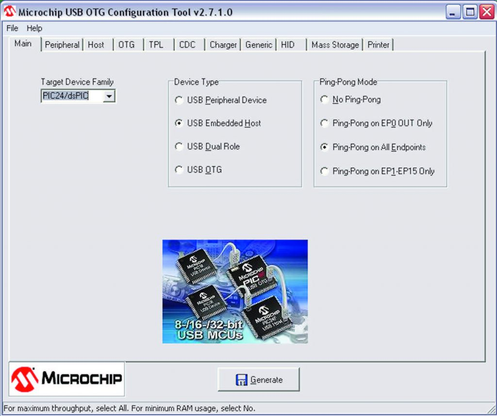 Figura 3: USB Configuration tool, configurazione Main.