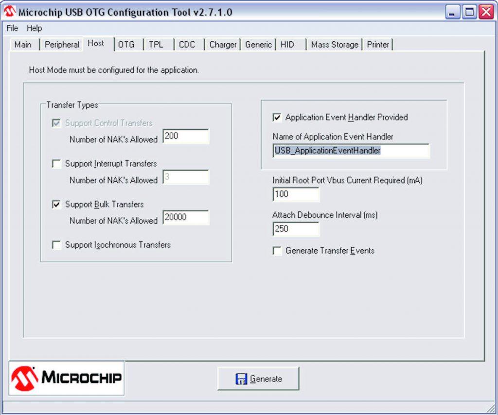 Figura 4: USB Configuration tool, configurazione Host