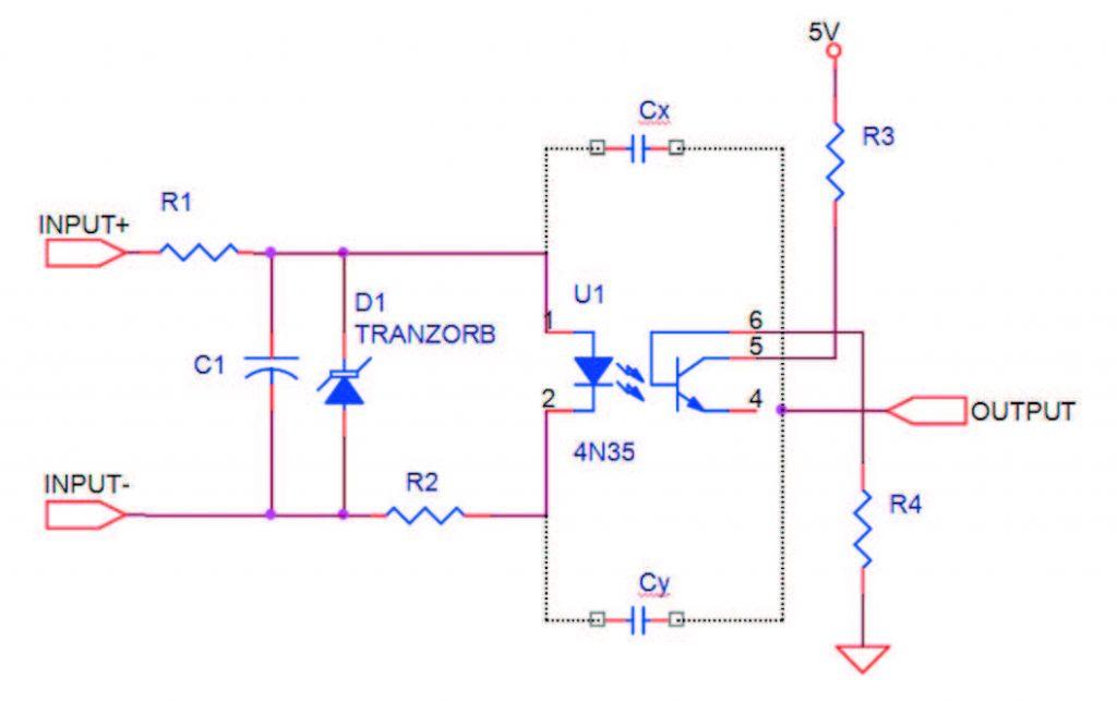 Figura 2: schema elettrico con evidenziate le capacità parassite.