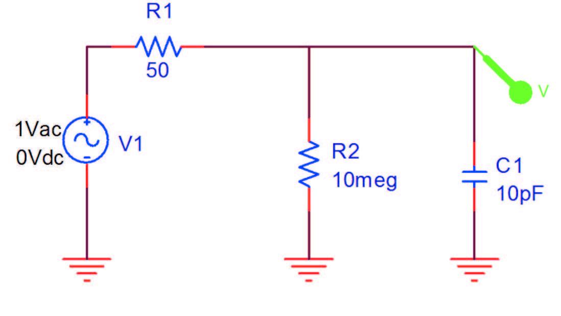Figura 1: circuito per la Simulazione AC di una sonda passiva.