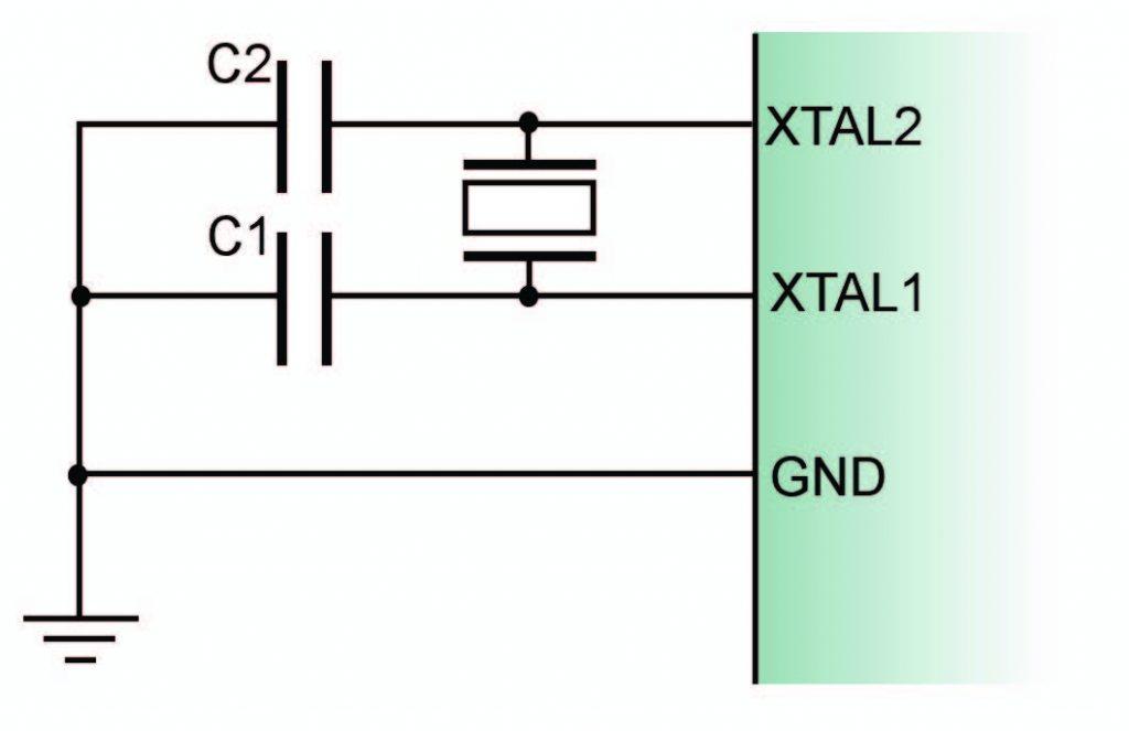 Figura 2: connessione di un oscillatore al quarzo.