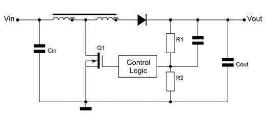 Figura 5: convertitore boost con auto-trasformatore.