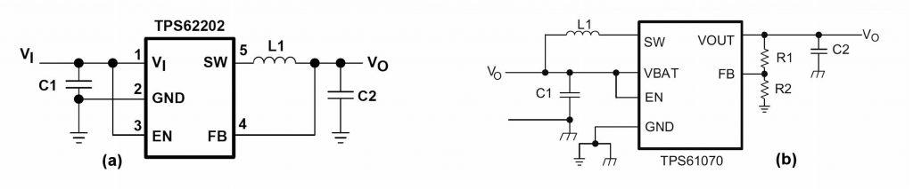Figura 2: schema di convertitori switching di tipo buck (a) e boost (b).