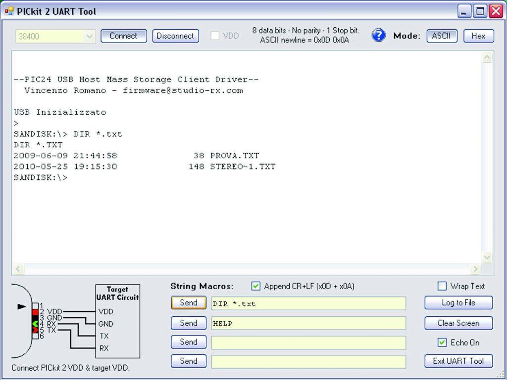 Figura 7: demo di Mass Storage per Flash drive. Il PIC24 è connesso al PC tramite UART ed un'applicazione di terminale.