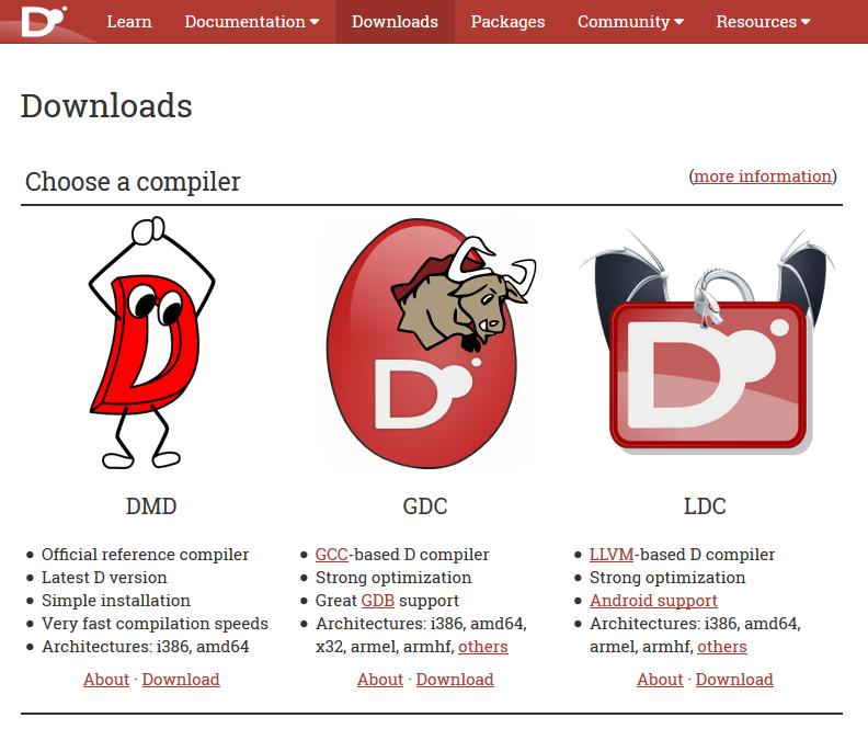 Figura 2: i vari tipi di compilatori per il linguaggio D