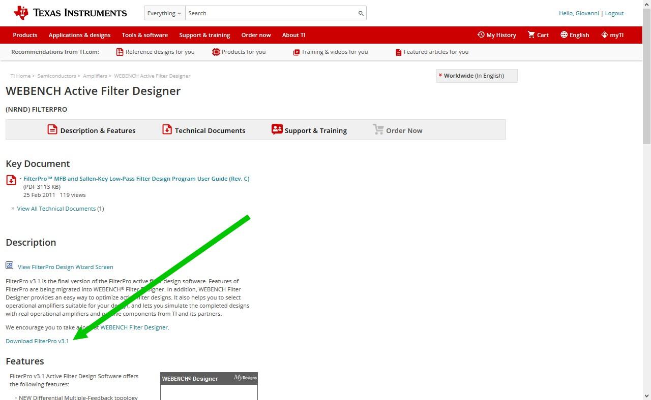 Figura 2: per scaricare FIlterPro è sufficiente cliccare sull'apposito link