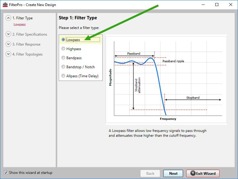 Figura 6: la procedura guidata inizia con la scelta della tipologia di filtro