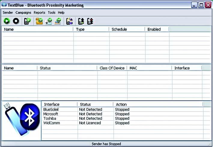 Figura 1: finestra principale di TextBlue.