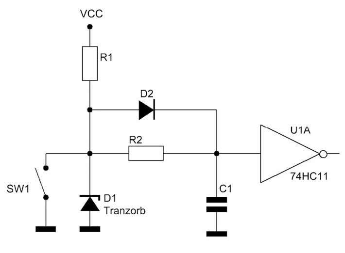 Figura 1: hardware debouncing di un contatto singolo.