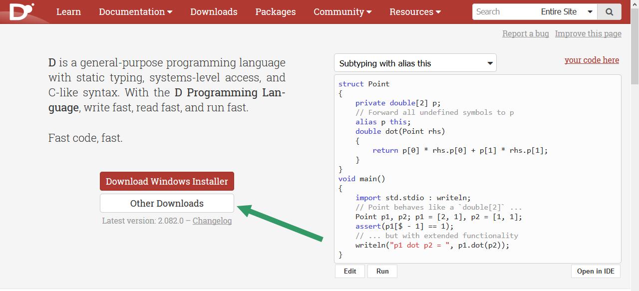 Figura 1: la home page del sito del linguaggio D