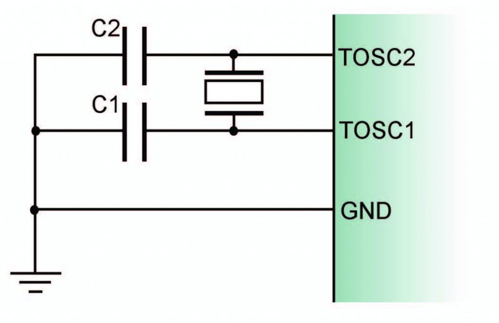 Figura 3: oscillatore esterno da 32,768 kHz.
