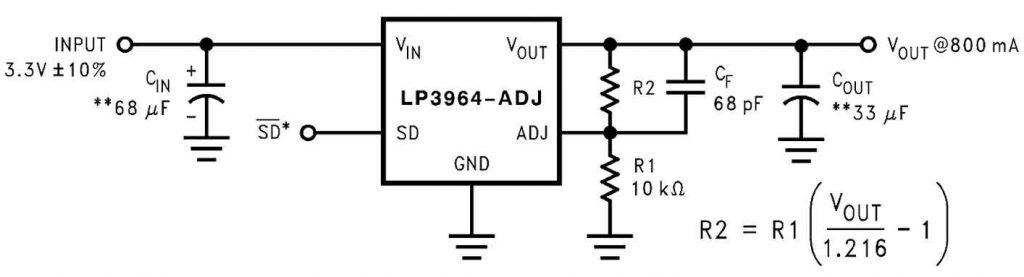 Figura 1: schema di un regolatore lineare con tensione di uscita configurabile.