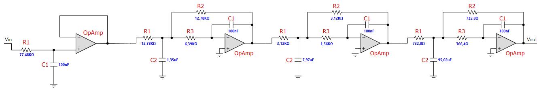 Figura 10: lo schema elettrico preliminare del filtro per basso elettrico