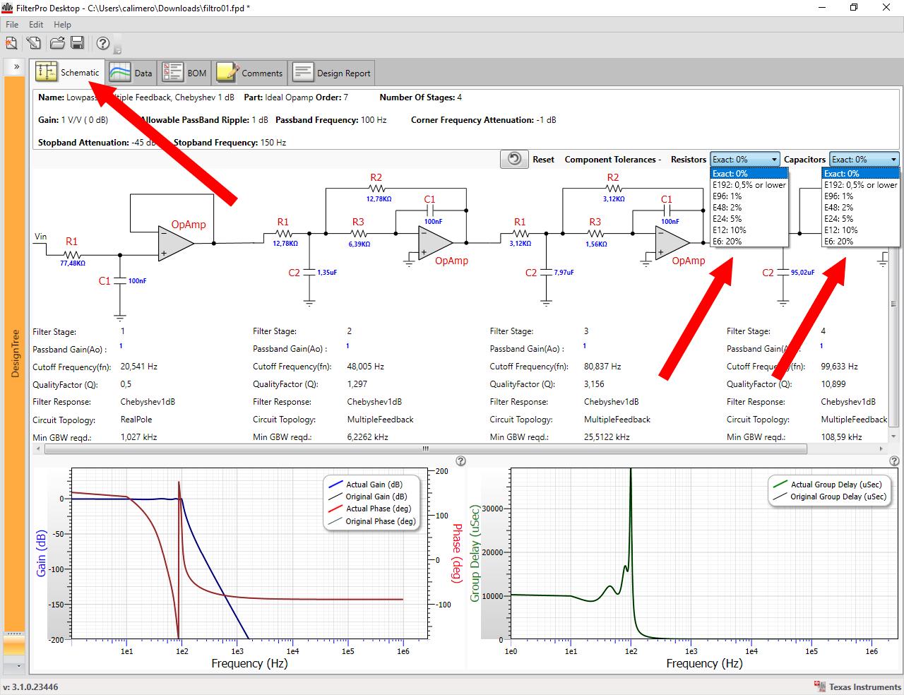 Figura 11: il programma consente di decidere la tolleranza delle resistenze e dei condensatori, in modo da prevedere dei componenti facilmente reperibili in commercio