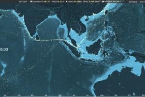 Navi circolanti nell'Oceano indiano il 4 maggio 2012, tracciate e con i relativi dati operativi.