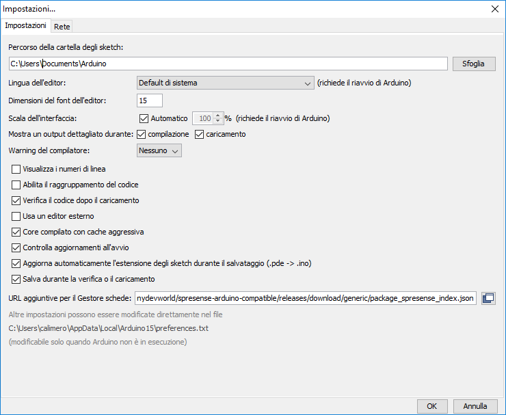 Figura 5: per l'installazione delle librerie di Spresense occorre configurare il corretto indirizzo nell'IDE di Arduino