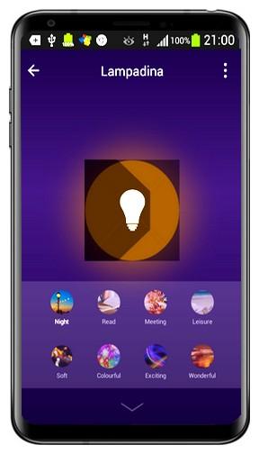 Figura 9: con le scene dell'applicazione è possibile ottenere colori suggestivi ed effetti speciali dalla propria lampadina WiFi