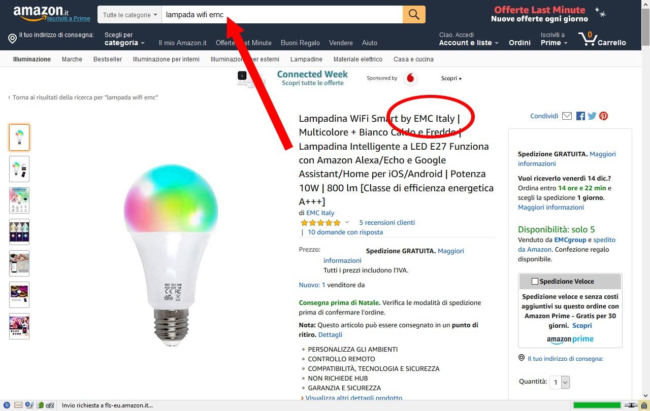 Figura 2: la pagina di Amazon dove acquistare la lampada WiFi by EMC Italy