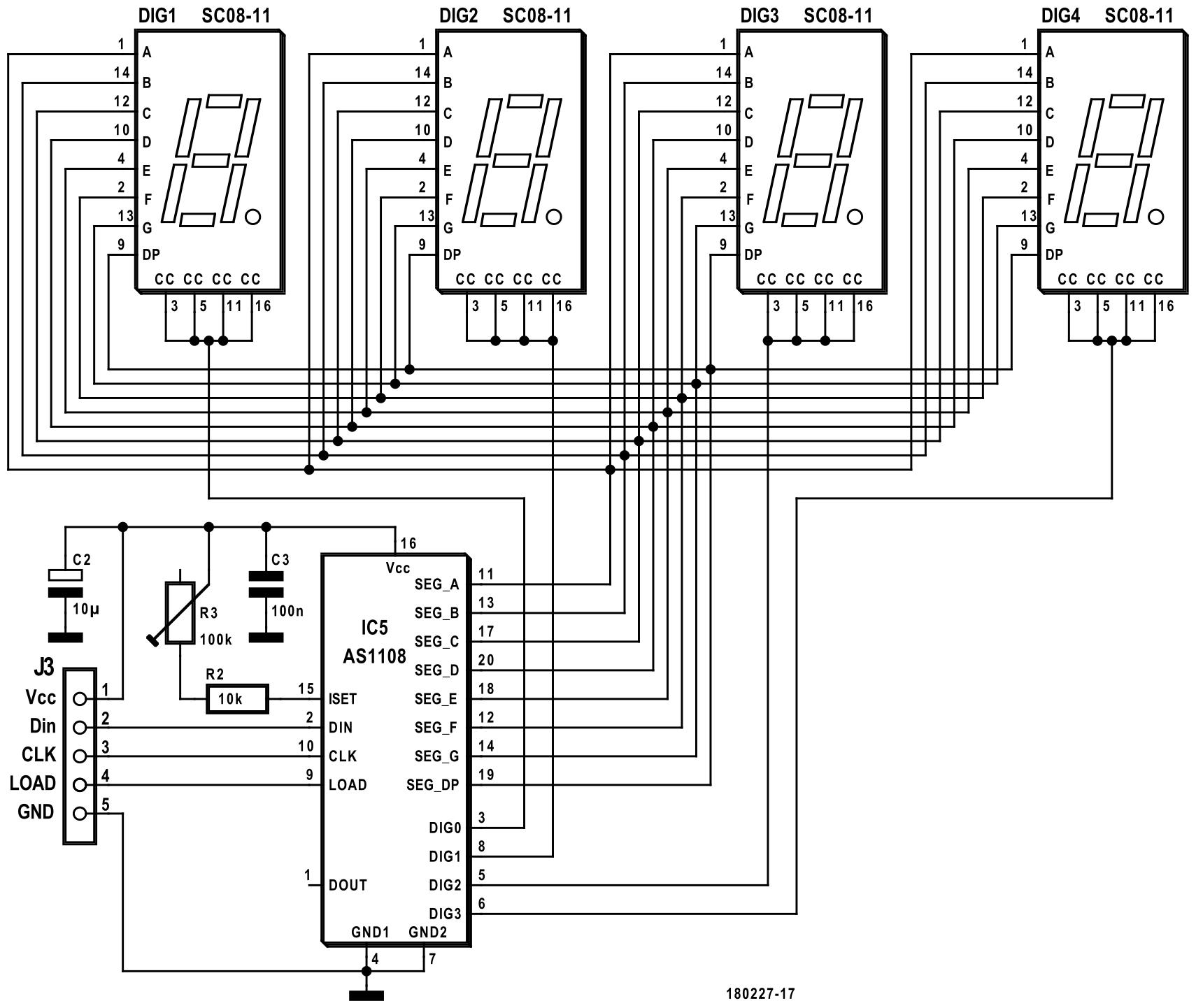 Figura 1: il circuito del modulo a display utilizza solo un driver di visualizzazione e quattro display a 7 segmenti