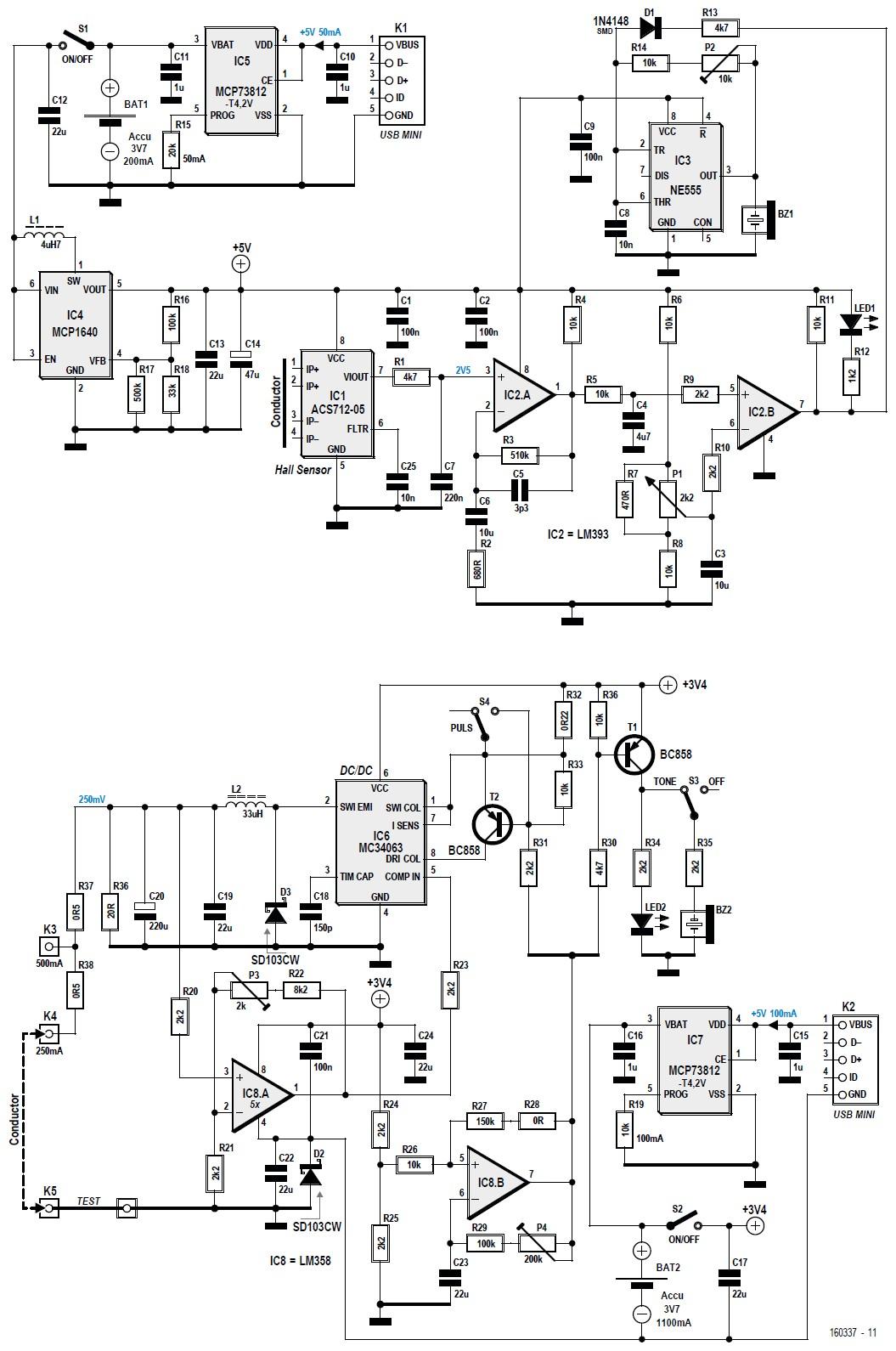 Figura 2: lo schema elettrico del dispositivo sensibile (in alto) e il generatore di corrente (in basso)