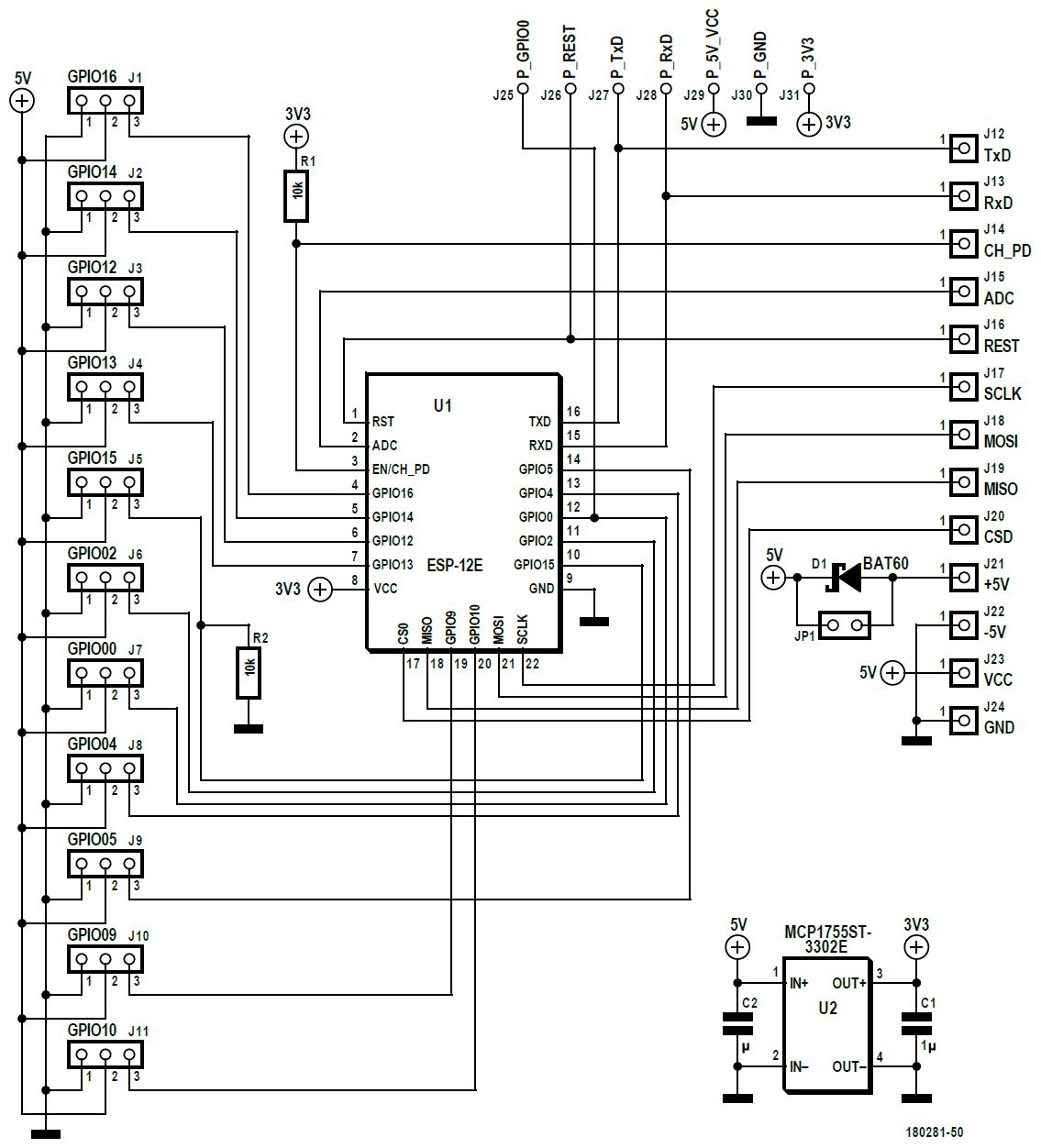 Figura 4: il circuito della scheda è molto semplice e non sono necessari traslatori di livello per azionare i servi