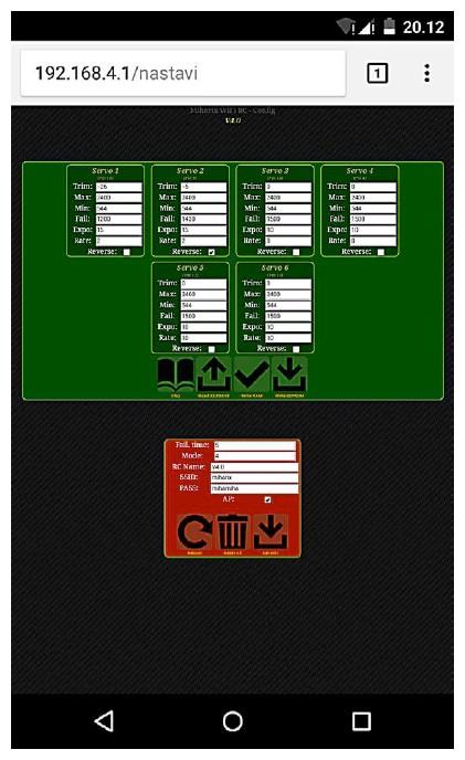 Figura 7: screenshot della pagina di configurazione del telecomando Wi-Fi di ESP8266