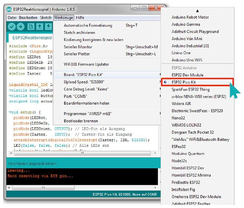 Figura 6: la scheda ESP32 Pico Kit appare nell'elenco