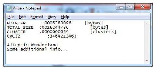Figura 12: il file di stato sulla scheda SD di Bob dovrebbe mostrare un avanzamento del puntatore della chiave