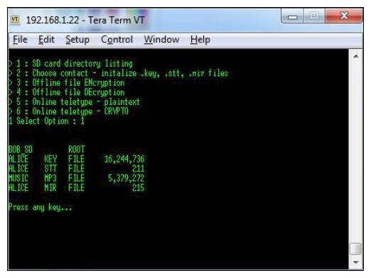 Figura 10: la directory root sulla scheda SD di Bob