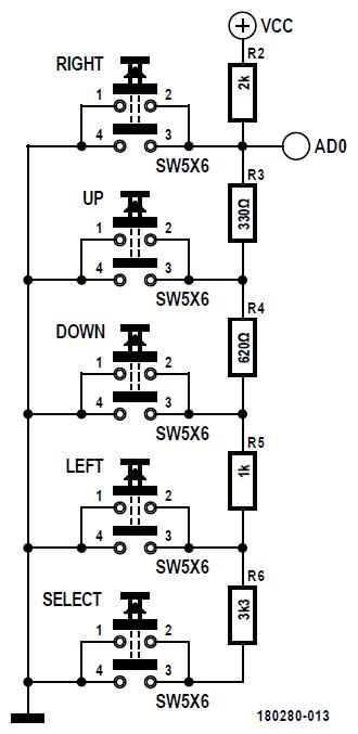 Figura 7: il collegamento dei cinque pulsanti