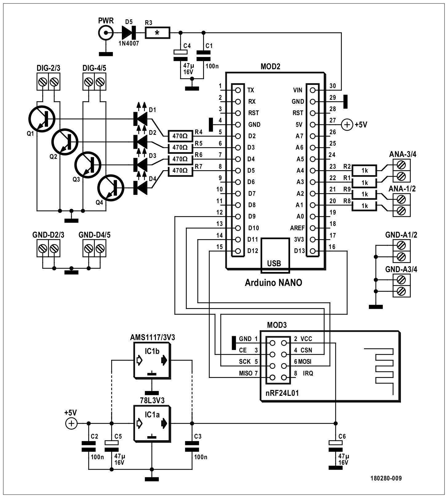 Figura 2: schema elettrico del back-end con Arduino e il modulo radio
