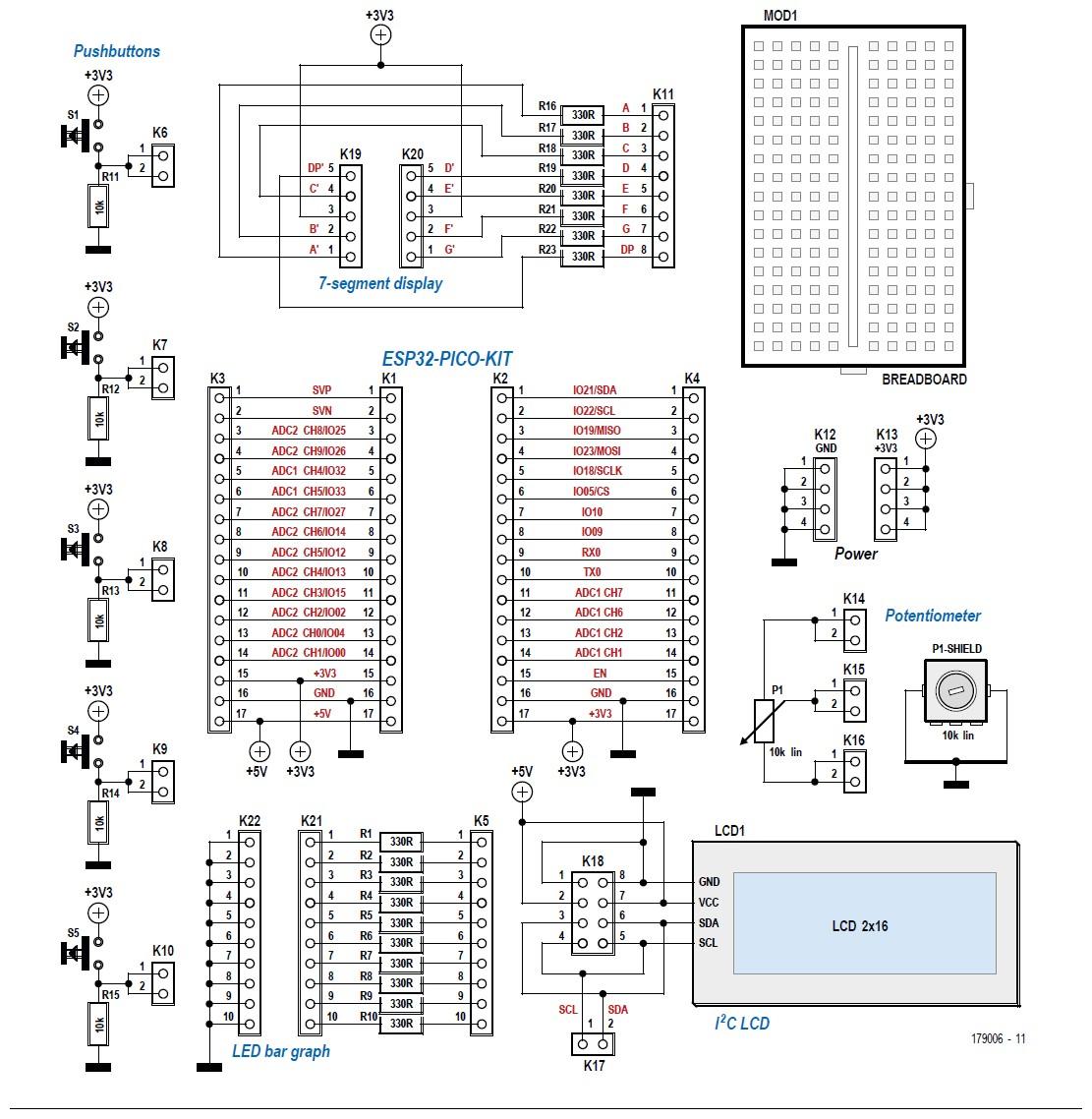 Figura 3: schema elettrico della scheda di sviluppo. I pin della scheda Pico ESP32 e delle periferiche come LED, pulsanti e display sono collegati a connettori femmina. Essi possono essere cablati liberamente