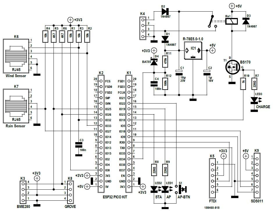 Figura 1: lo schema elettrico della stazione meteo. L'ESP32 è il cuore del circuito