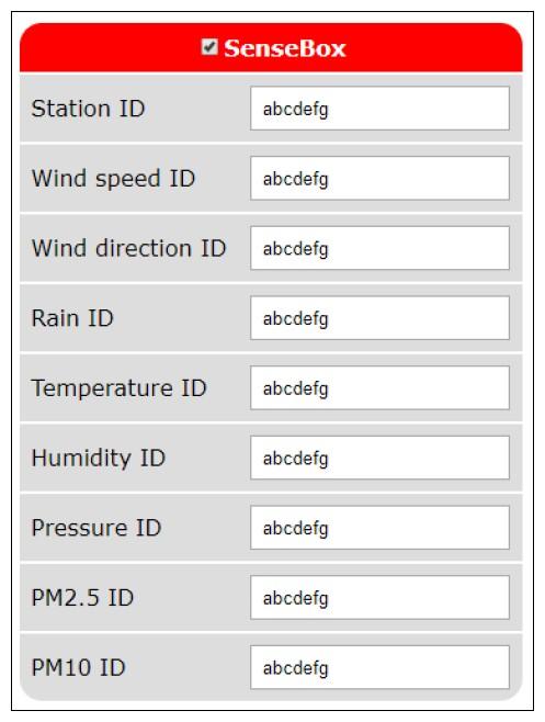 Figura 5: sul sito opensensemap.org si possono gestire i sensori per la propria stazione meteorologica