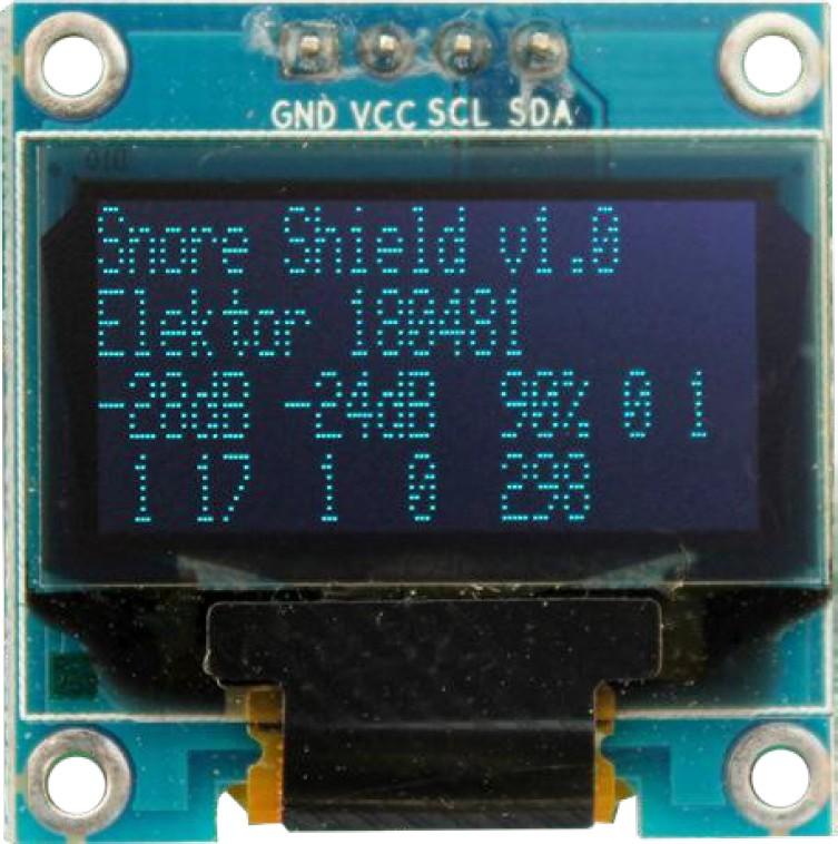 """Figura 4: il display OLED. Il numero """"298"""" sulla quarta linea è il numero di secondi di attesa prima che il sistema ritorni alla modalità di rilevamento del russamento"""