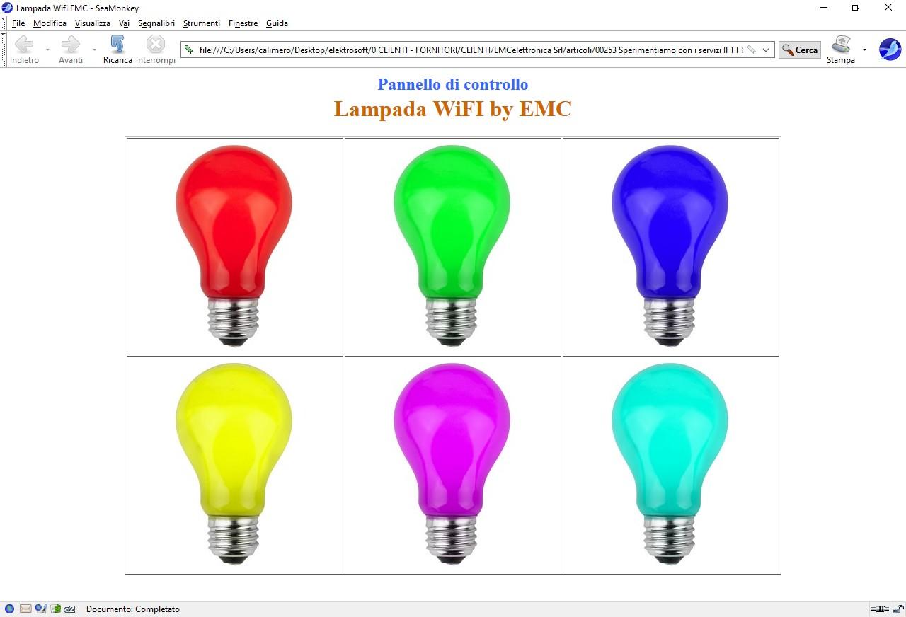 Figura 2: la pagina web funge da pannello di comando della lampada WiFI della EMC
