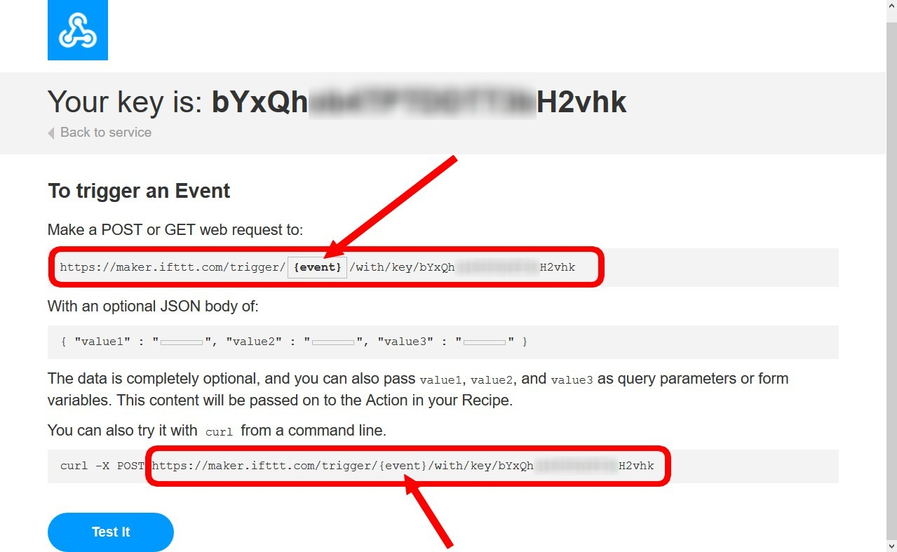 Figura 6: come reperire la URL da utilizzare per usufruire del servizio