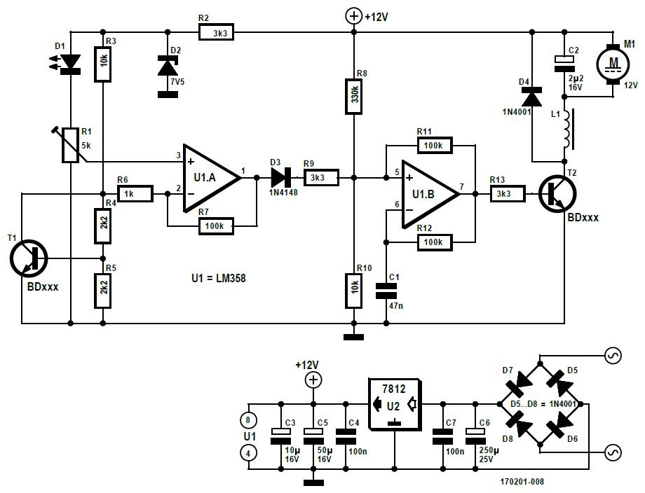 Figura 1: nella versione analogica del controller della ventola vediamo l'LM358 utilizzato come un multivibratore indipendente
