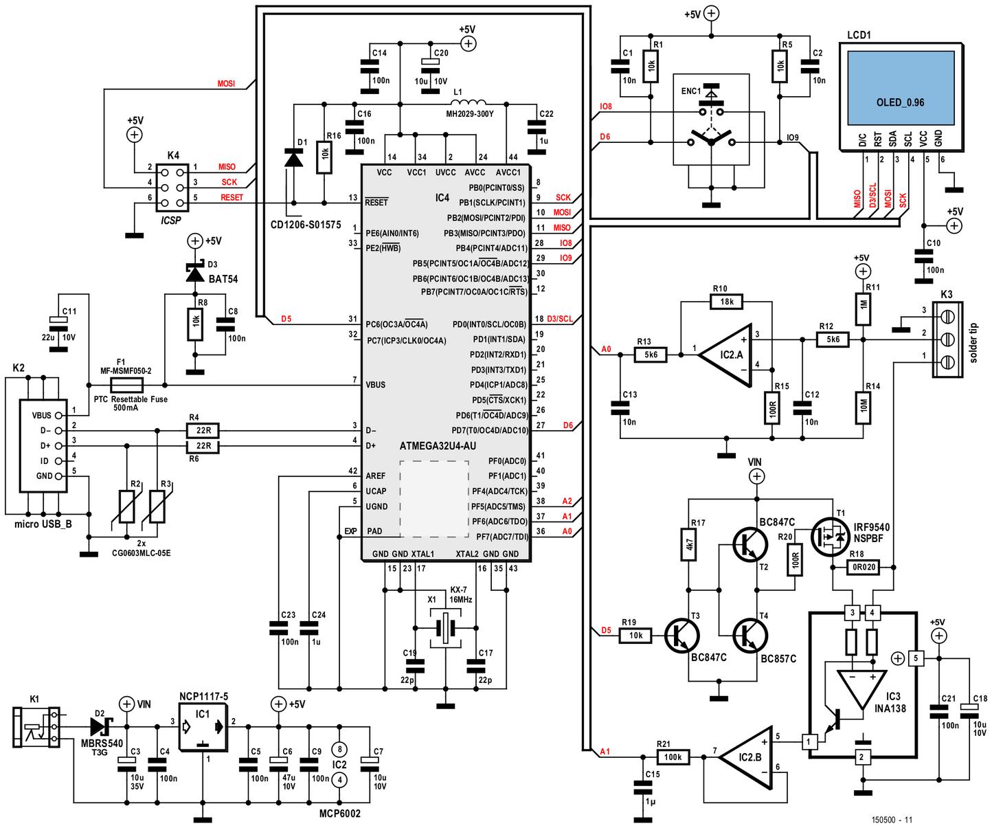 Figura 3: lo schema elettrico della stazione di saldatura unisce abilmente concetti di elettronica analogica e digitale per raggiungere gli obiettivi