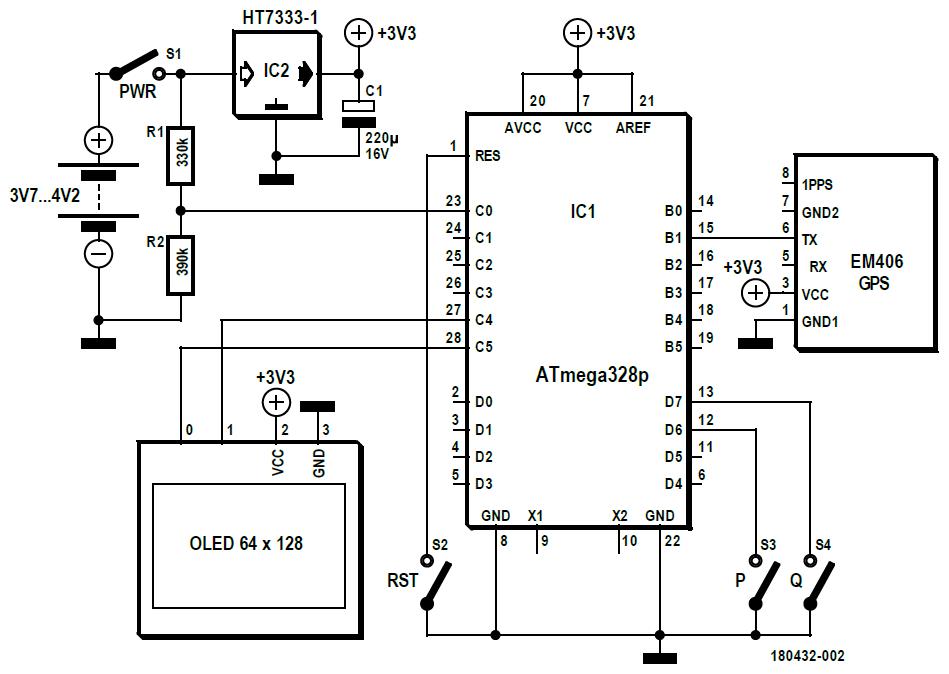 Figura 1: lo schema è composto solo da sette componenti, perché sono stati utilizzati dei moduli, tutti collegati tra loro dall'ATmega328P