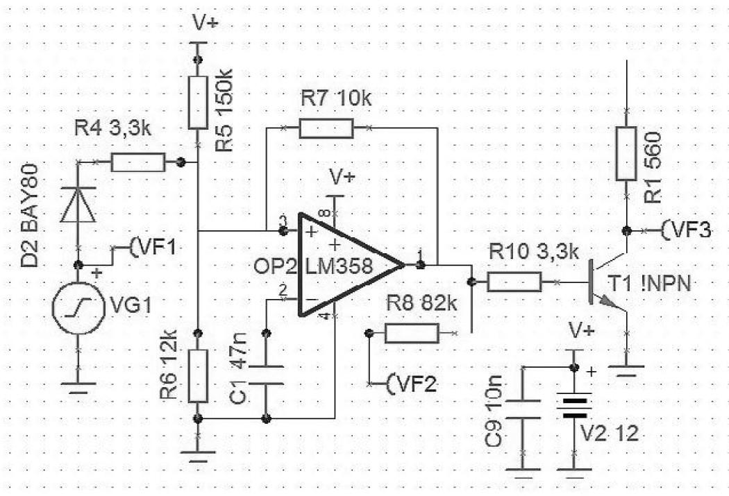 Figura 2: il circuito analogico è facilmente simulabile in Tina TI