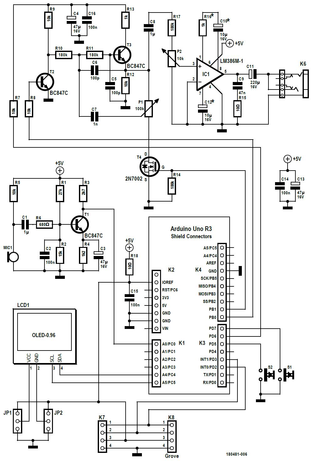 Figura 2: lo schema elettrico consiste principalmente nell'amplificatore per microfono T1, il processore di rumore controllato da T2 e T3 e l'amplificatore di potenza IC1